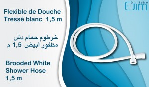 Flexible de Douche Tressé blanc - 1,5 m - ﺧﺮﻃﻮﻡ ﺣﻤﺎﻡ ﺩﺵ ﻣﻈﻔﻮﺭ ﺃﺑﻴﺾ - Brooded White Shower Hose