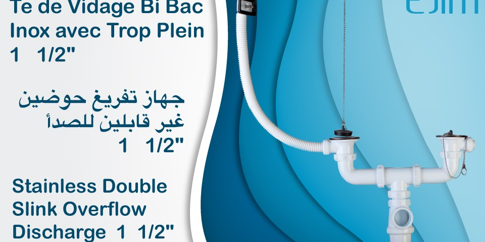 "Te de Vidage Bi Bac Inox avec Trop Plein 1   1/2"" - ﺟﻬﺎﺯ ﺗﻔﺮﻳﻎ ﺣﻮﺿﻴﻦ ﻏﻴﺮ ﻗﺎﺑﻠﻴﻦ ﻟﻠﺼﺪﺃ - Stainless Double Slink Overflow Discharge"